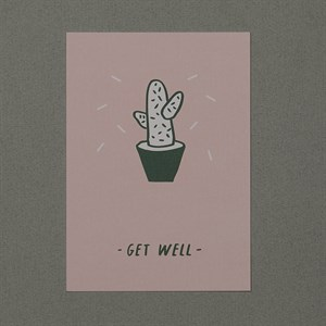 Get well cactus A/W 16 postcard