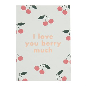 I love you berry much rose gold postcard