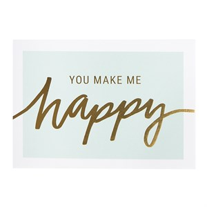You make me happy laminated postcard
