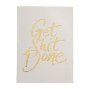 Get shit done gold postcard
